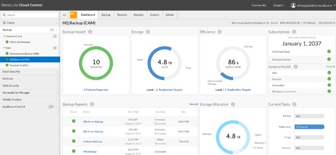 Barracuda Backup Dashboard